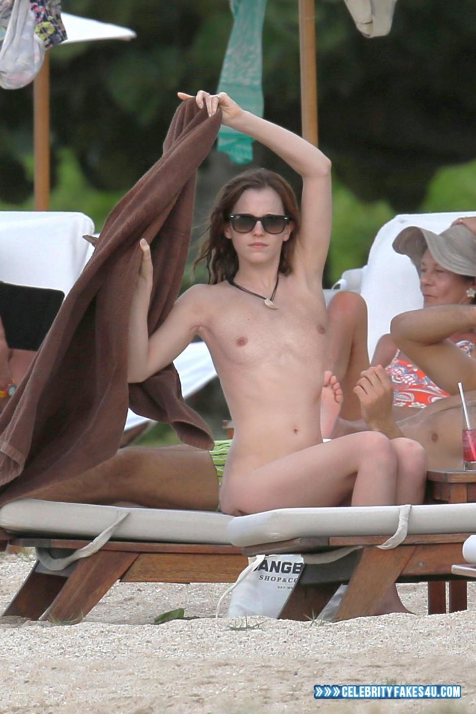 Emma Watson Fake, Beach, Nude, Outdoor, Public, Tits, Porn