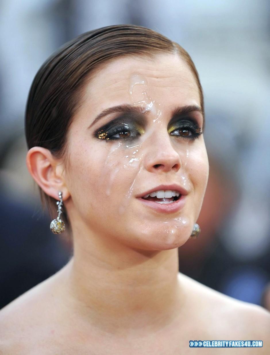 Emma Watson Fake, Cum Facial, Cumshot, Horny, Public, Porn