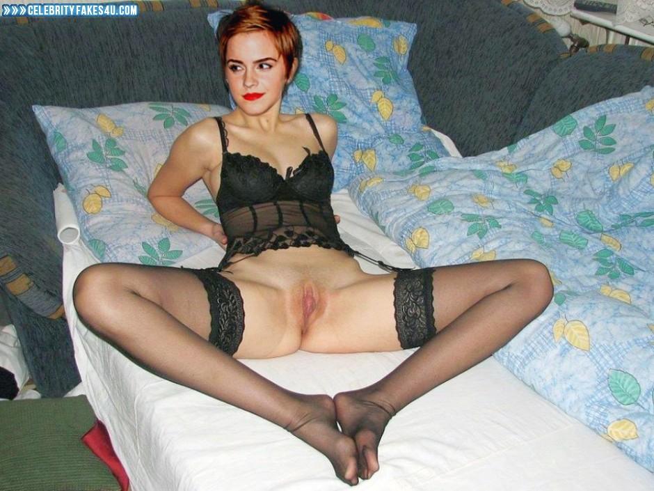 Emma Watson Fake, Feet, Lingerie, Lipstick, Nude, Pussy, Stockings, Porn