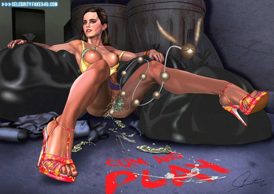 Emma Watson Fake, Brunette Hair, Cartoon, Heels, Lingerie, Nude, Outdoor, Public, Pussy, Sex Toy, Squirt, Stockings, Tits, Porn