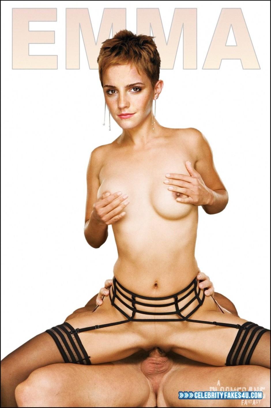 Emma Watson Fake, Deep Sex, Pinching Nipples, Reverse Cowgirl Sex, Riding Sex, Sex, Stockings, Tits, Porn