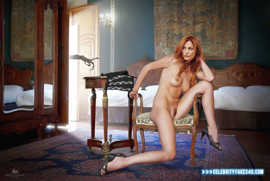 Gillian Anderson Fake, Completely Naked Body / Fully Nude, Heels, Sexy Legs, Tits, Porn