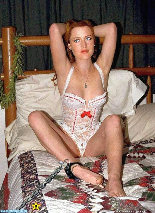 Gillian Anderson Fake, Bondage, Homemade, Lingerie, Nip Slip, Porn