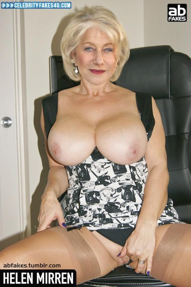 Helen Mirren Fake, Big Tits, Blonde, Lipstick, Panties Pulled Aside, Stockings, Porn