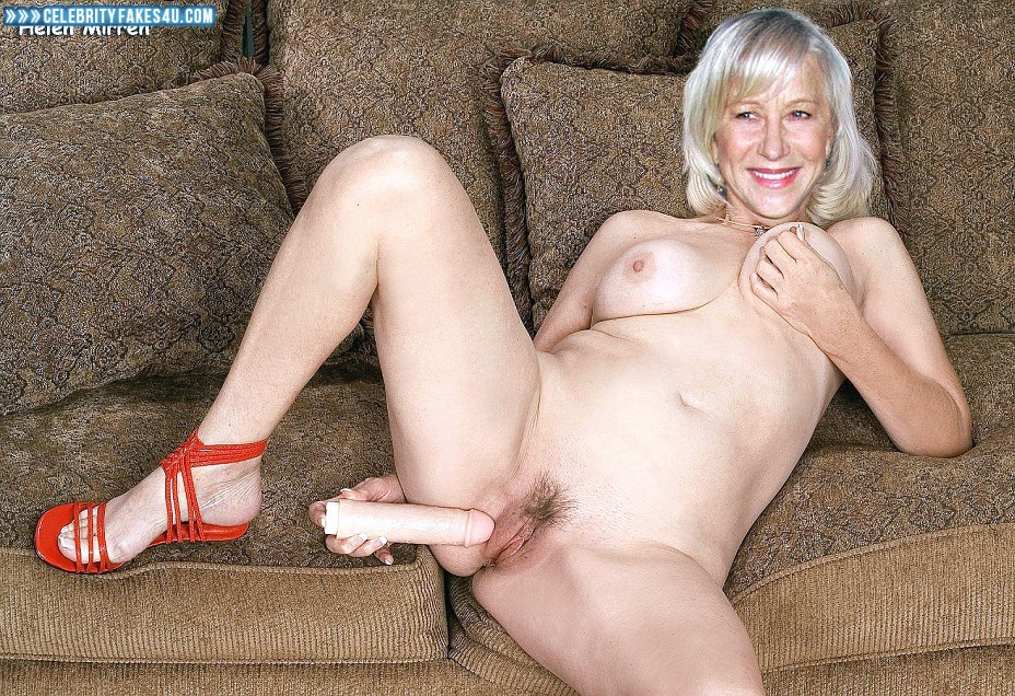 Helen Mirren Fake, Dildo, Legs Spread, Squeezing Breasts, Porn
