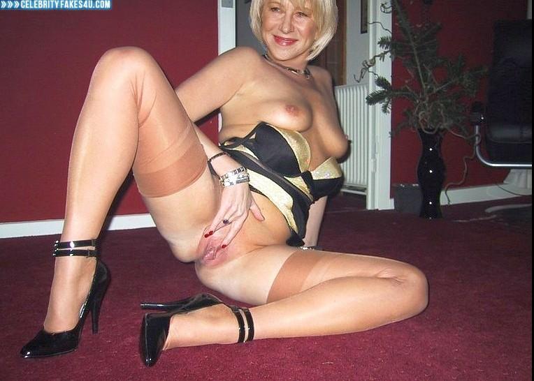 Helen Mirren Fake, Flashing Tits, Heels, Pussy Spread, Stockings, Porn
