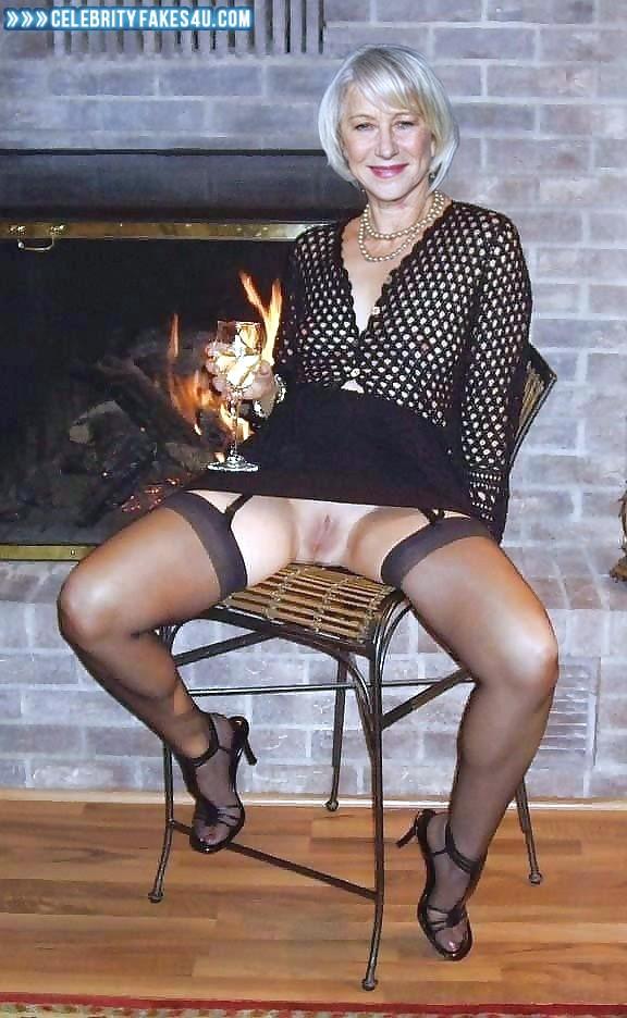 Helen Mirren Fake, Pantiless, Stockings, Upskirt, Porn