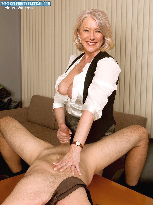Helen Mirren Fake, Blonde, Handjob, Horny, Lipstick, Tits, Porn