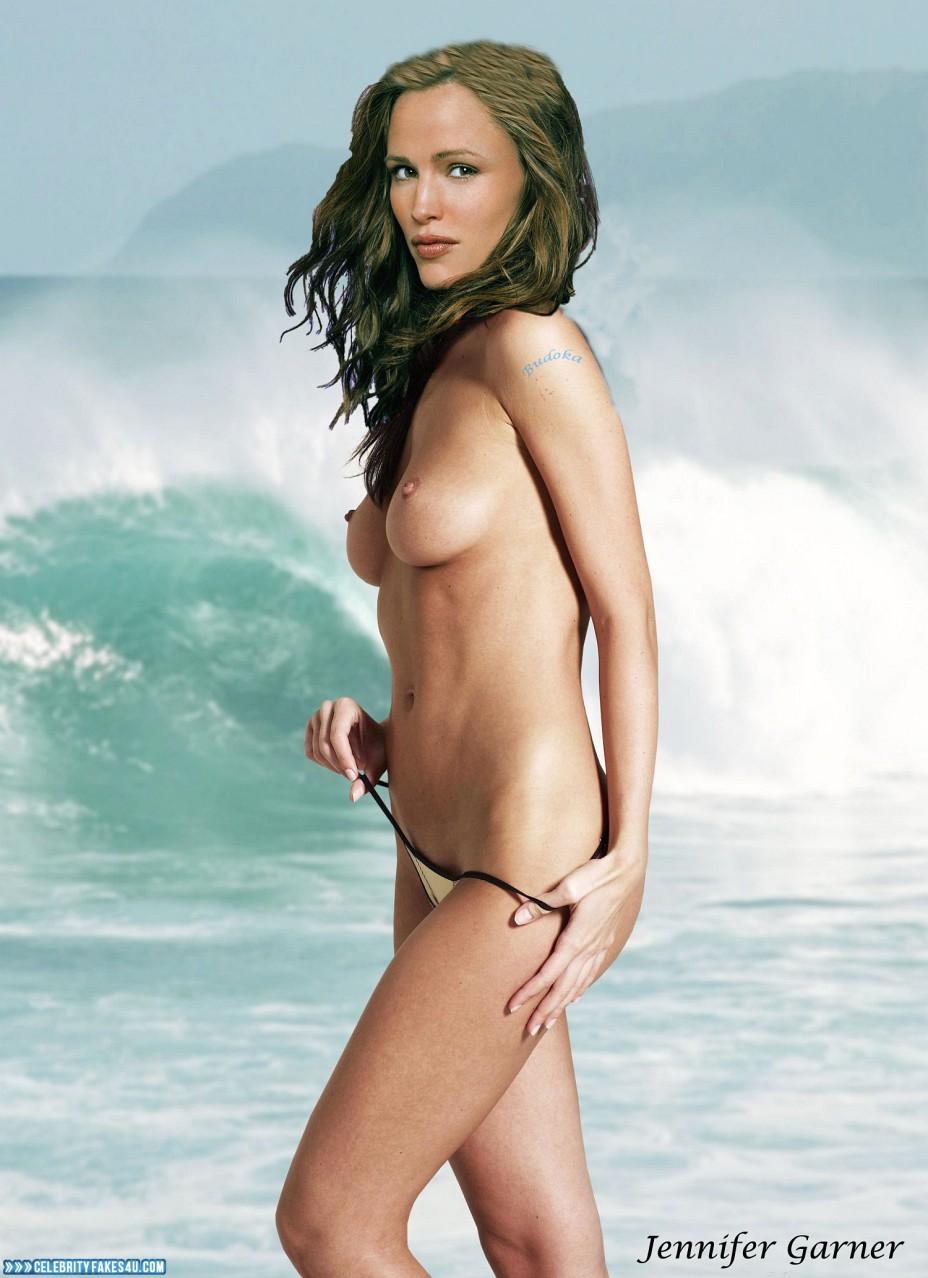 Jennifer Garner Fake, Beach, Bikini, Topless, Porn