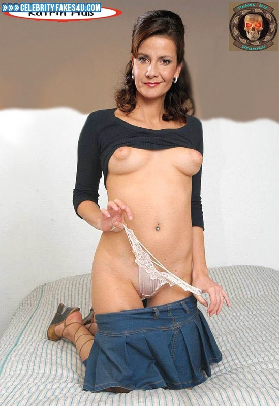 Katrin Huss Fake, Flashing Tits, Lingerie, Skirt, Thong, Undressing, Porn