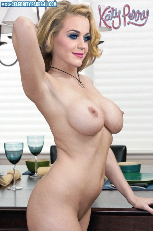 Katy Perry Fake, Blonde, Lipstick, Nude, Tits, Porn
