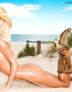 Laura Vandervoort Beach Sideboob Fake 001