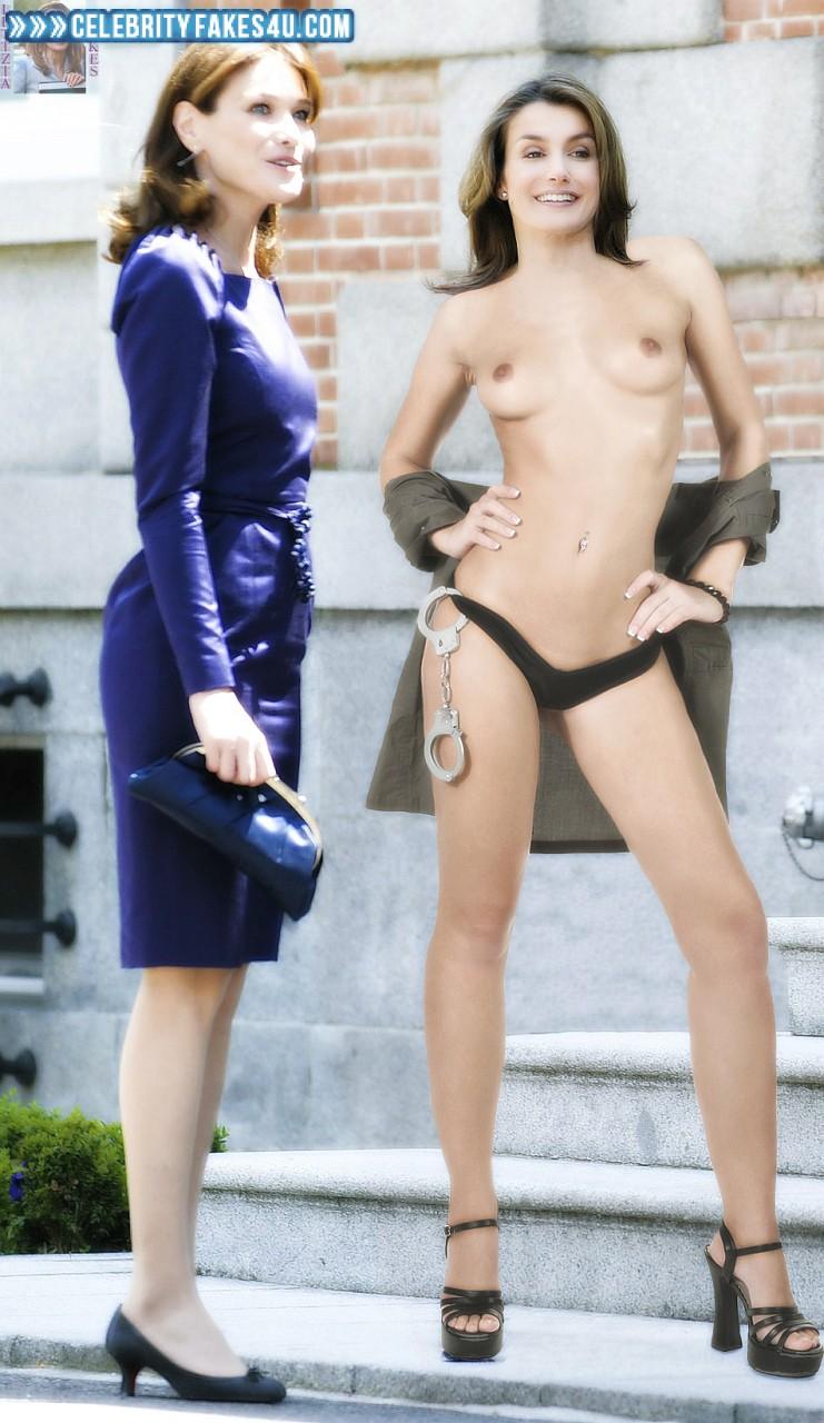 Letizia Ortiz Fake, Heels, Sexy Legs, Thong, Topless, Porn