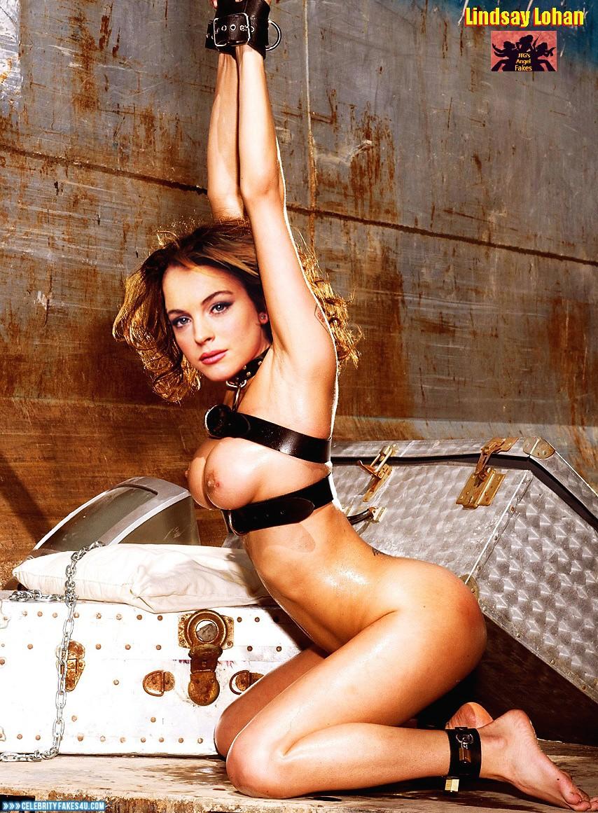 Lindsay Lohan Fake, Bondage, Completely Naked Body / Fully Nude, Squeezing Breasts, Wet, Porn
