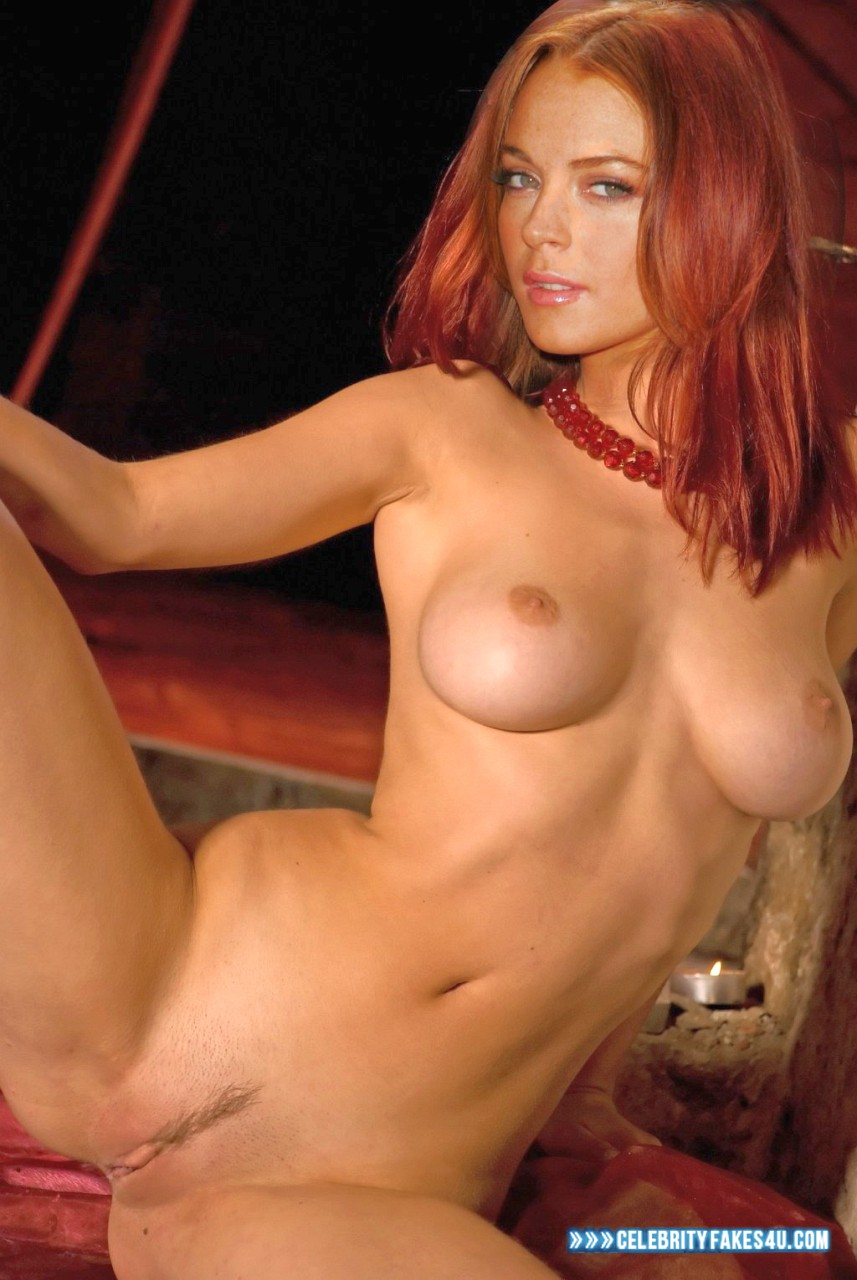 Lindsay Lohan Fake, Completely Naked Body / Fully Nude, Horny, Legs Spread, Very Nice Tits, Porn