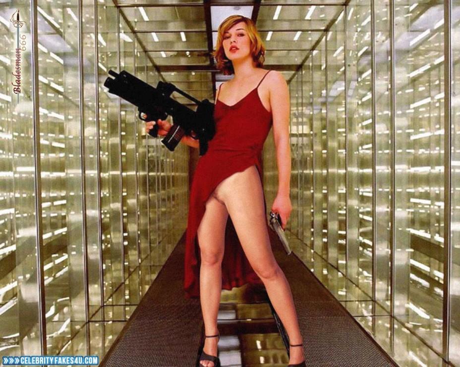 Milla Jovovich Fake, Pantiless, Sexy Legs, Porn