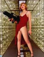Milla Jovovich Legs No Panties 001