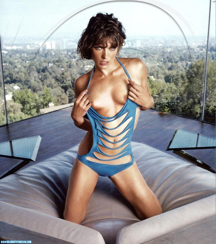 Milla Jovovich Fake, Flashing Tits, Horny, Lingerie, Porn