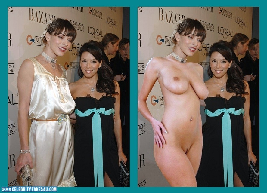 Milla Jovovich Fake, Completely Naked Body / Fully Nude, Public, Red Carpet Event, Very Nice Tits, Porn