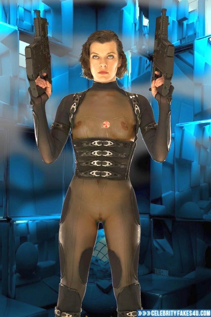 Milla Jovovich Fake, Pantiless, Resident Evil, See-Thru, Tits, Porn