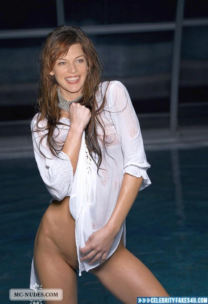Milla Jovovich Fake, Pantiless, See-Thru, Tits, Wet, Porn