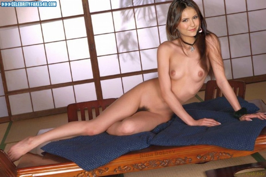 Nina Dobrev Fake, Completely Naked Body / Fully Nude, Sexy Legs, Tits, Porn