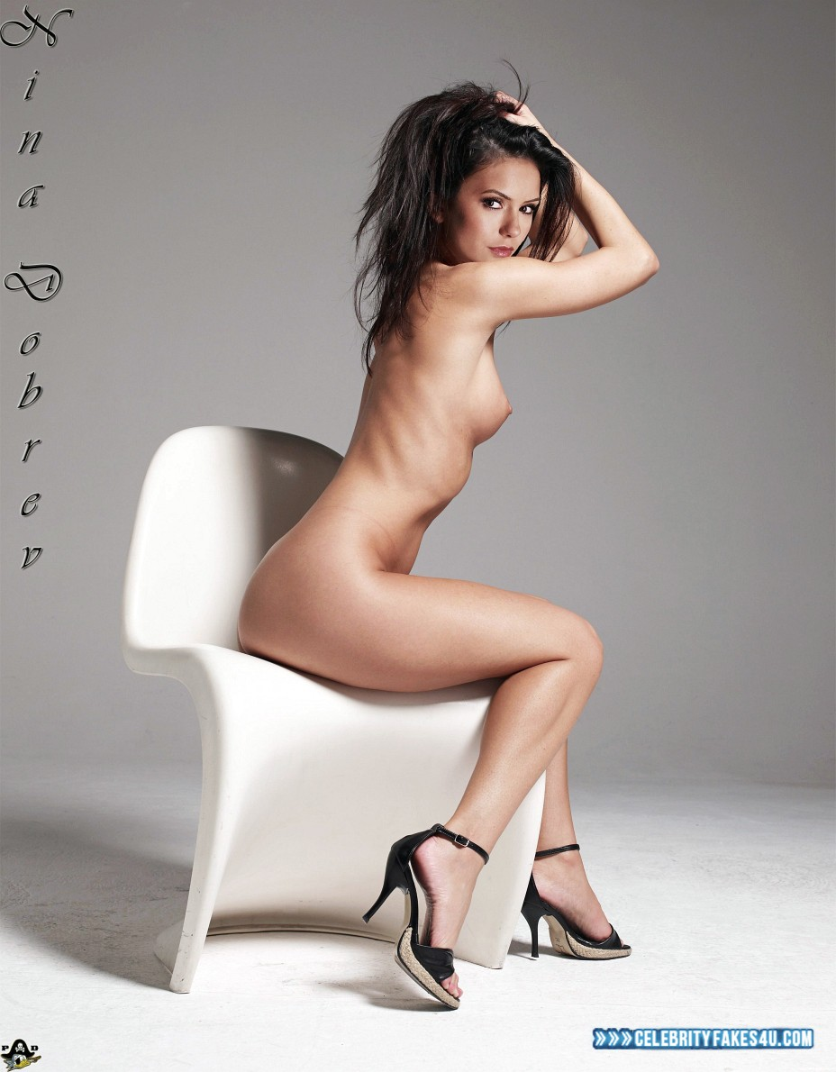 Nina Dobrev Fake, Completely Naked Body / Fully Nude, Heels, Sideboob, Porn