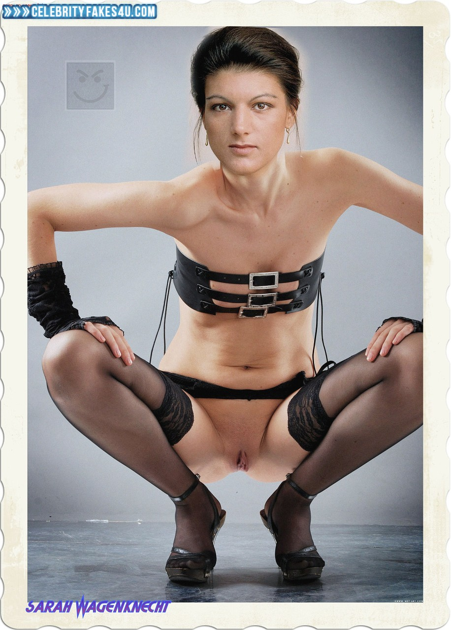 Sahra Wagenknecht Fake, Heels, Pantiless, Squeezing Breasts, Stockings, Porn