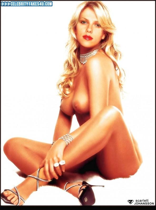 Scarlett Johansson Fake, Blonde, Lipstick, Nude, Tits, Porn