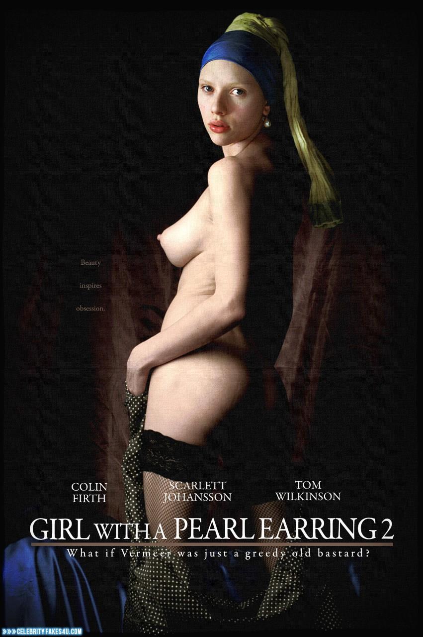 Scarlett Johansson Fake, Movie Cover, Nude, Sideboob, Tits, Porn