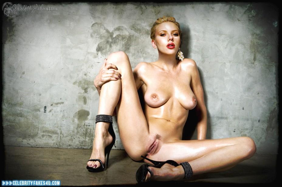 Scarlett Johansson Fake, Heels, Horny, Legs Spread, Lipstick, Nude, Pussy, Tits, Wet, Porn
