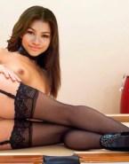 Zendaya Coleman Stockings Pantieless Nude 001