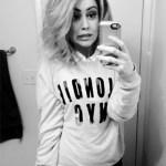 Junk Food Blondie NYC Light Heather Gray Sweater as seen on Kinsey Schofield Instagram.
