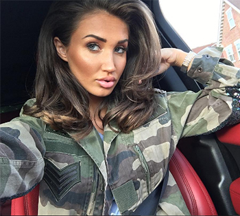 TOWIE star Megan McKenna in Topshop Finds Camouflage Sequin Patch Jacket / Instafashion