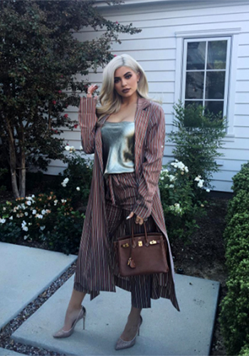 Kylie Jenner Instagram: Raquel Allegra Metallic Stripe Trench Robe + Pants