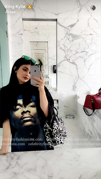 Kylie Jenner Snapchat: Vetements 'Snoop' Graphic Crewneck Tee and Givenchy mini Dalmatian bag