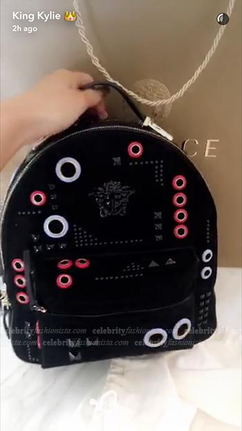 Kylie Jenner Snapchat: Versace Grommet Embellished Suede Backpack