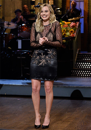 Margot Robbie Saturday Night Live debut in Alexander Wang Long Sleeve Illusion Lace Dress and Jimmy Choo Tilly sandals, October 2016