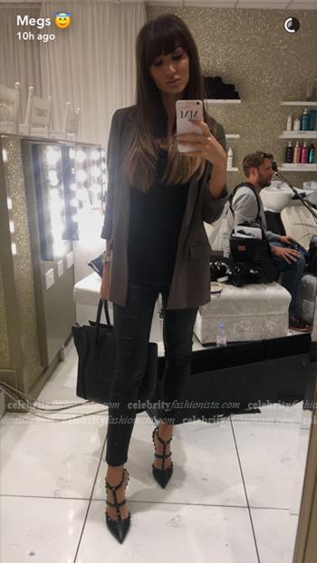 Megan McKenna Snapchat: Valentino Noir Rockstud Leather Slingbacks