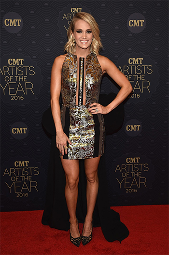 Carrie Underwood In Rene Caovilla Crystal-embellished Suede & Mesh Pumps At CMT Artists Of The Year In Nashville on October 19, 2016