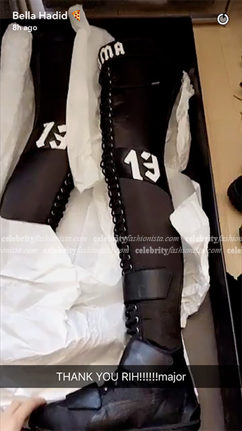 Bella Hadid Snapchat: Fenty Puma by Rihanna Eskiva Satin Boots