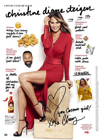 Chrissy Teigen in Alexandre Vauthier dress, Salvatore Ferragamo necklace and Nicholas Kirkwood sandals (Cosmopolitan December 2016)
