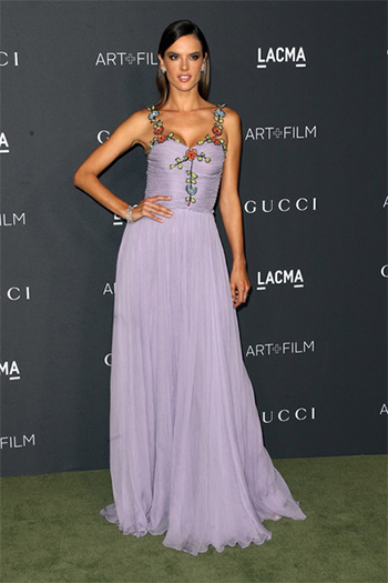 Alessandra Ambrosio in Gucci pale lavender chiffon embroidered gown at 2016 LACMA Art + Film Gala — October 29, 2016.