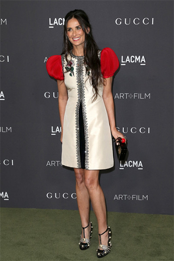 Demi Moore in Gucci 'Ofelia' Pearly Crystal Embellished Pumps at 2016 LACMA Art + Film Gala — October 29, 2016.