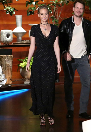 Jennifer Lawrence wearing a Jenni Kayne polka dot dress and black suede Schutz Loriana shoes on the Ellen Show — November 10, 2016.