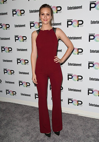 Leighton Meester in Roland Mouret lace Jumpsuit and Sophia Webster Coco Flamingo Pumps to Entertainment Weekly PopFest on October 29, 2016