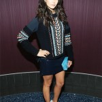 """Nina Dobrev in Versace sweater and skirt, and Edie Parker clutch to the """"xXx: the Return of Xander Cage"""" screening on November 12, 2016"""