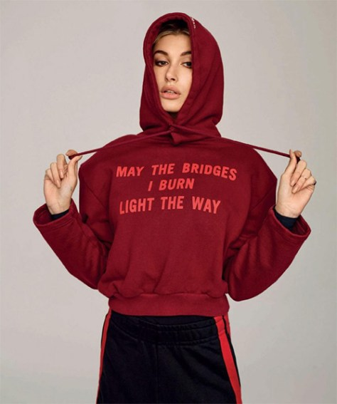 "Hailey Baldwin in Vetements ""May The Bridges I Burn Light The Way"" Hoodie for Harper's Bazaar Spain (January 2017)"
