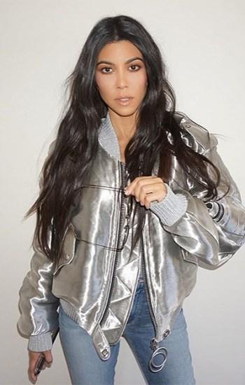 Kourtney Kardashian in OFF-WHITE Metallic taffeta bomber jacket and Good American Good Legs Raw Step Hem Skinny Jeans on Instagram November 18, 2016