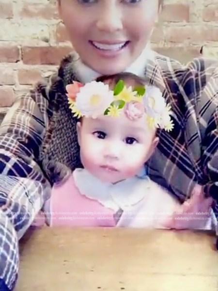 Chrissy Teigen, Chloé Fringed Tartan Coat (Snapchat, December 14, 2016)